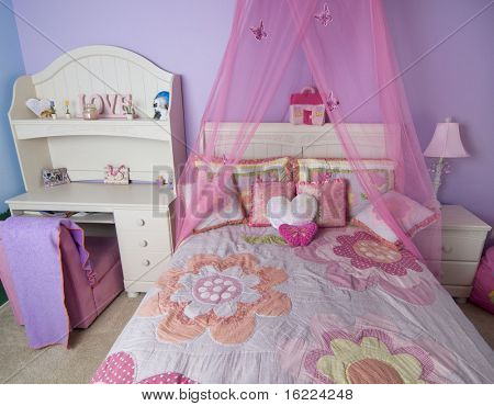 Interior for a little girl's bedroom in pink color
