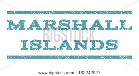 Marshall Islands watermark stamp. Text caption between horizontal parallel lines with grunge design style. Rubber seal stamp with dust texture. Vector cyan color ink imprint on a white background.