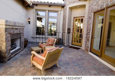 Home improvement series, Attractive entrance with cozy fireplace and armchairs