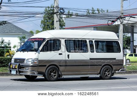 CHIANG MAI THAILAND - OCTOBER 30 2016: Private Toyota commuter van. Photo at road no.121 about 8 km from downtown Chiangmai thailand.