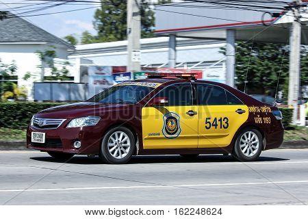 CHIANG MAI THAILAND - OCTOBER 30 2016: Highway Police Car. Toyota Camry Hybrid. Photo at road no.121 Chiangmai thailand.