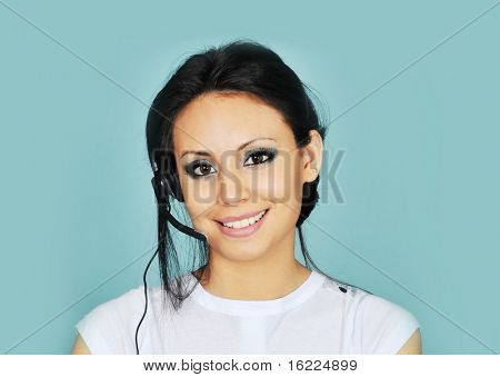 Attractive young women answering business call