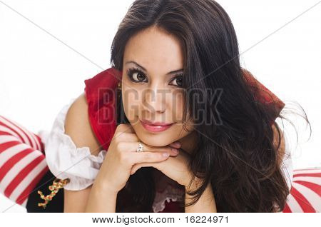 Beautiful large eyed model waif like model wearing cute red and white stockings.