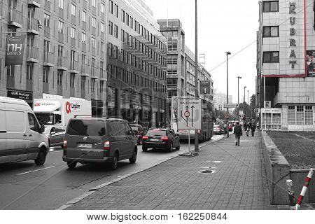 BERLIN, GERMANY - OCTOBER 6, 2016: Street scene in the Leipziger Strasse in Berlin during the rush hour. The street is one of the streets with the most traffic volume in Berlin