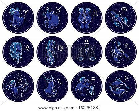 Collection of All Zodiac Signs. Vector illustration of Zodiac Signs on Night Starry Sky Background. Aries, Taurus, Gemini, Cancer, Leo, Virgo, Libra, Scorpio, Sagittarius, Capricorn, Aquarius, Pisces.