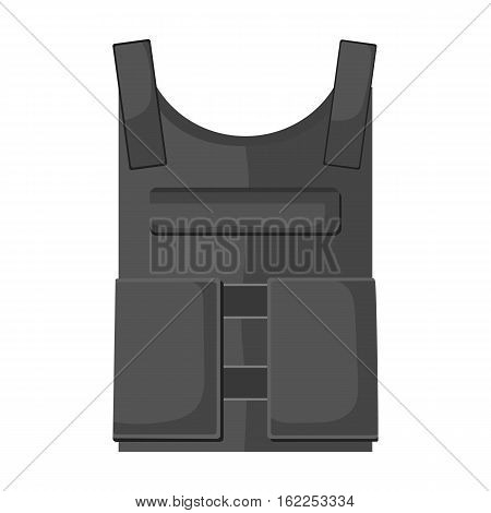 Army bulletproof vest icon in monochrome style isolated on white background. Military and army symbol vector illustration