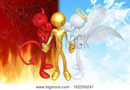 Angel And Devil With The Original Character 3D Illustration