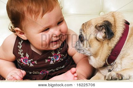 Adorable little baby girl playing with pet pug dog