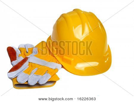 Yellow hardhat and leather gloves isolated on white background
