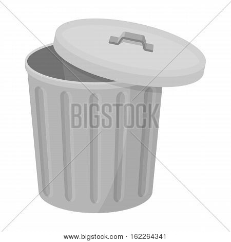 Trash can icon in monochrome style isolated on white background. Trash and garbage symbol vector illustration.