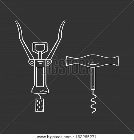 Vintage and modern corkscrews vector icons hand drawn doodle sketch, isolated on chalkboard.