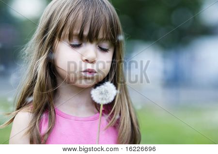 Little girl blowing dandelion blossom away