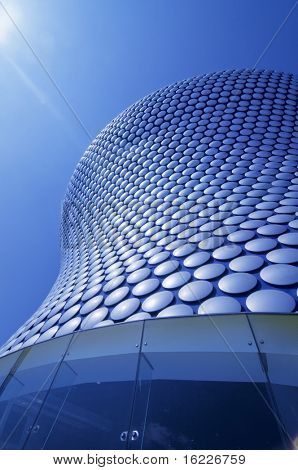 Modern sleek iconic architecture of giant store exterior in Birmingham,England