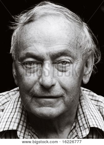 Black and white portrait of senior pensioner
