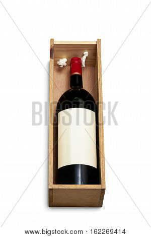 Big bottle of red wine in wooden box for carriage isolated on white with clipping path
