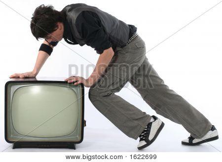 Man Push Tv Away Concept