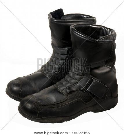 Libros de moto de cuero negro resistente o zapatos de trabajo