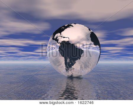 Globe In Ocean