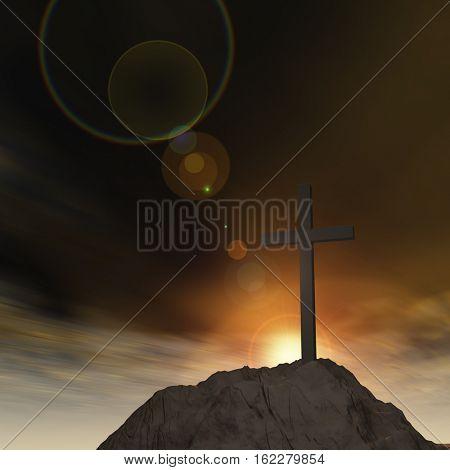 Concept or conceptual 3D illustration cross religion symbol shape on sunset sky, clouds background