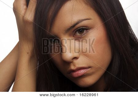 Face of a sad young woman ( acting )