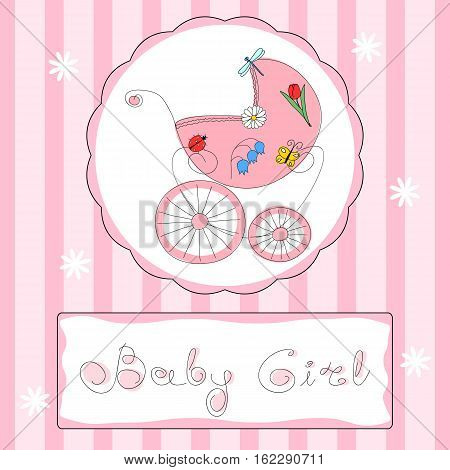 Baby girl shower or arrival card in pink colors with freehand retro styled baby carriage and handwritten title, eps10 vector illustration