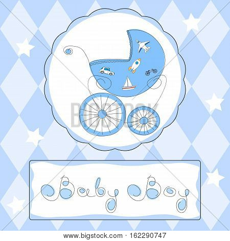 Baby boy shower or arrival card in blue colors with freehand retro styled baby carriage and handwritten title, eps10 vector illustration