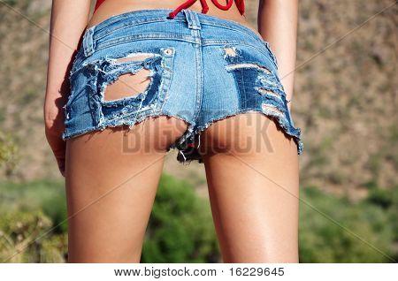 Ripped tiny denim booty shorts