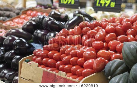 Organic vegetables in a market place