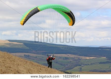 Paraglider launching wing in the Brecon beacons