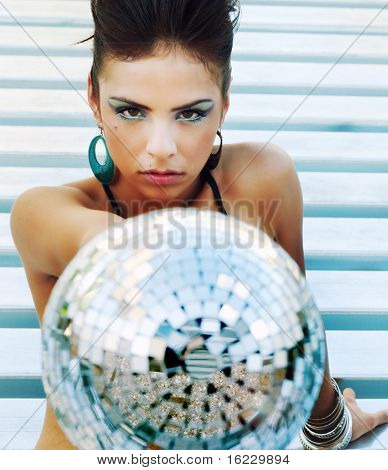 Beautiful disco diva futuristic club girl