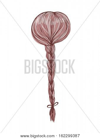 Woman head with brown hair back view with bride. Hand-drawn cartoon hairdressing sketch. Doodle drawing. Vector illustration.