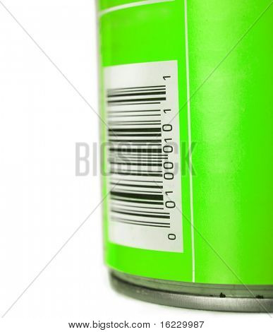 Green can with bar code