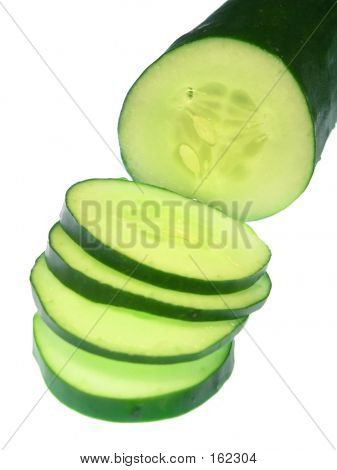 Sliced Cucumber, Isolated On White
