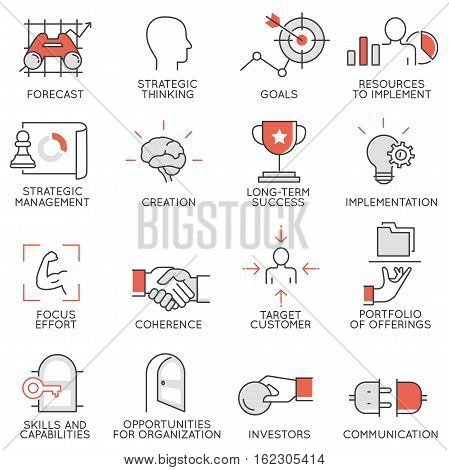 Vector set of flat linear icons related to business management strategy career progress and business process. Mono line flat pictograms and infographics design elements - 3