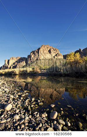 Tranquil landscape photo of evening sunshine falling on a beautiful remote creek.