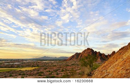 Papago Park, Red rock formation in Phoenix,Scottsdale captured at sunset with beautiful sky, Arizona