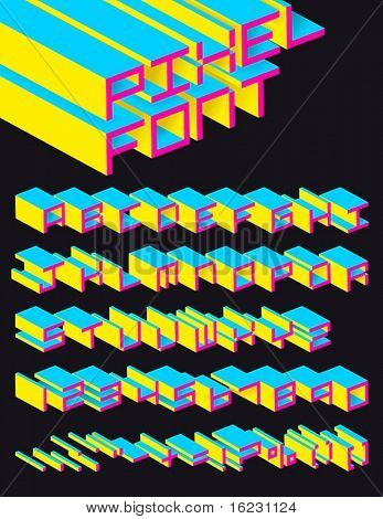 3d vector pixel alphabet
