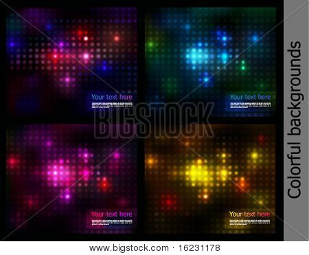 Collection of backgrounds. Vector lights on a black