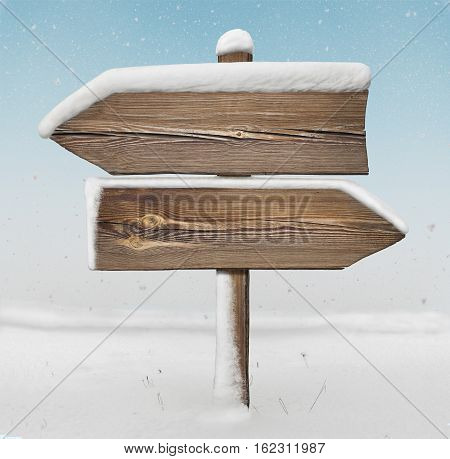 Wooden Direction Sign With Less Snow And Snowfall Bg. Two_arrows-opposite_directions