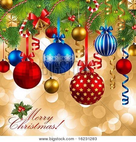 fundo de Natal com enfeites e árvore de Natal