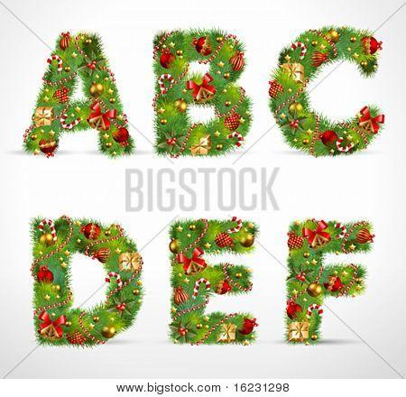 ABCDEF, Weihnachtsbaum Vektorschriftart