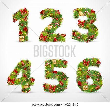 123456, vector christmas tree font