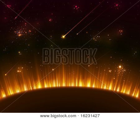 Space background with yellow sun rays