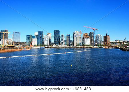 Cityscape and modern district with lux apartments and restaurants in Oslo, Norway