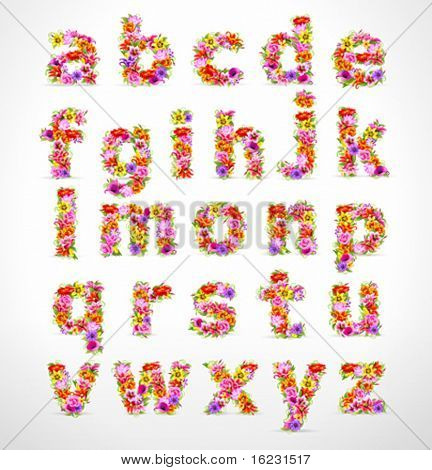 vector colorful flower font. Check my portfolio for numbers and uppercase letters