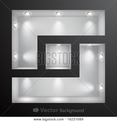 3d Empty shelf for exhibit in the wall. Vector illustration.