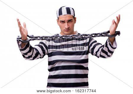 Man prisoner isolated on white background