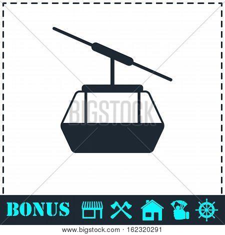 Ropeway cabines icon flat. Simple vector symbol and bonus icon
