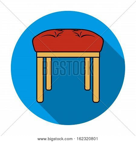 Stool icon in flat style isolated on white background. Furniture and home interior symbol vector illustration.