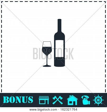 Wine icon flat. Simple vector symbol and bonus icon